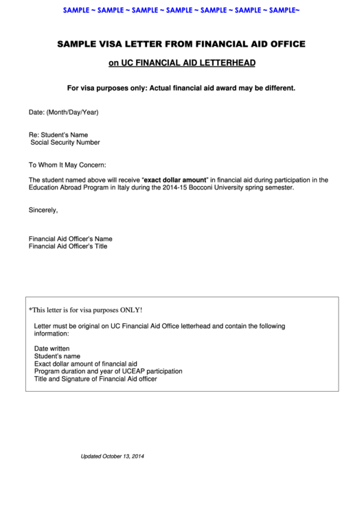 sample visa letter from financial aid office template