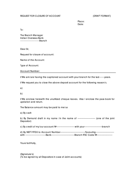 samples letter to close bank account templates forms request for closure of account form