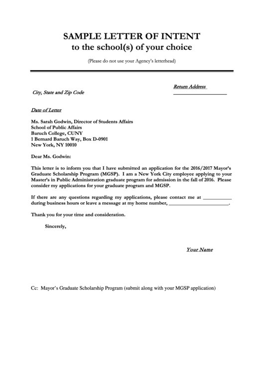 Sample Letter Of Intent To The School S Of Your Choice