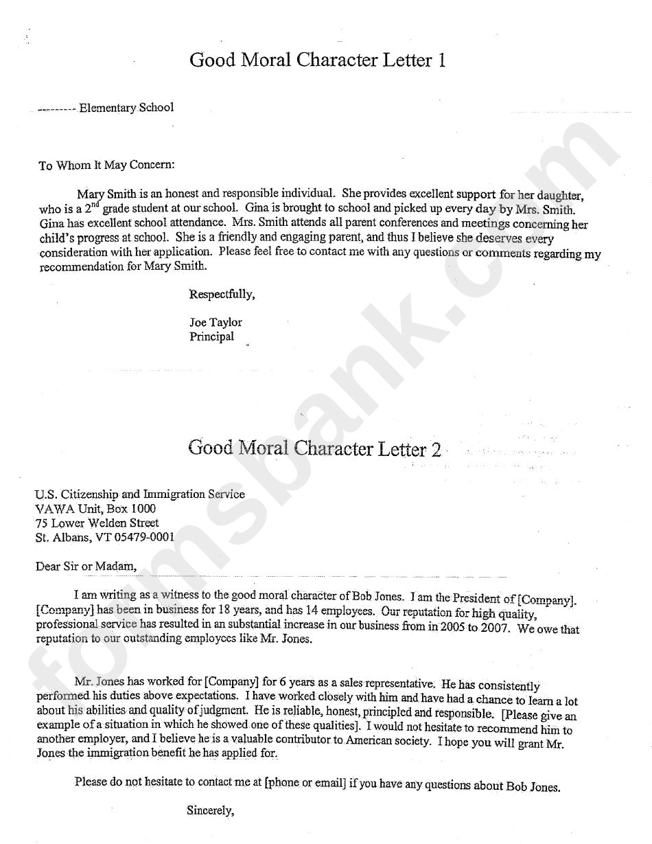 good moral character letter template printable pdf download