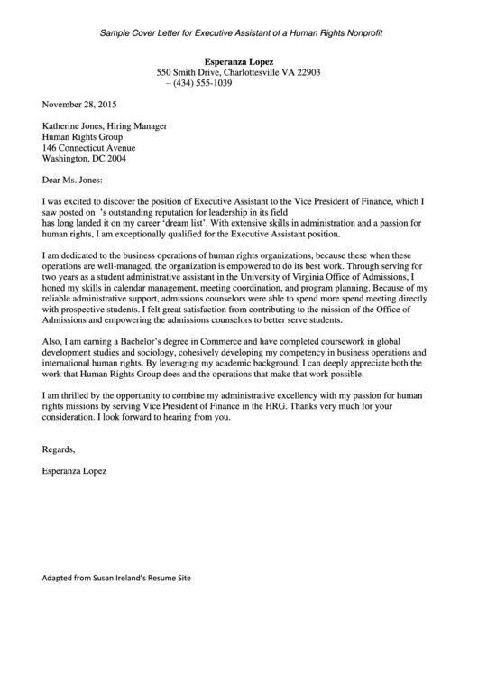 Sample Cover Letter: Executive Assistant Of A Human Rights Nonprofit Printable pdf