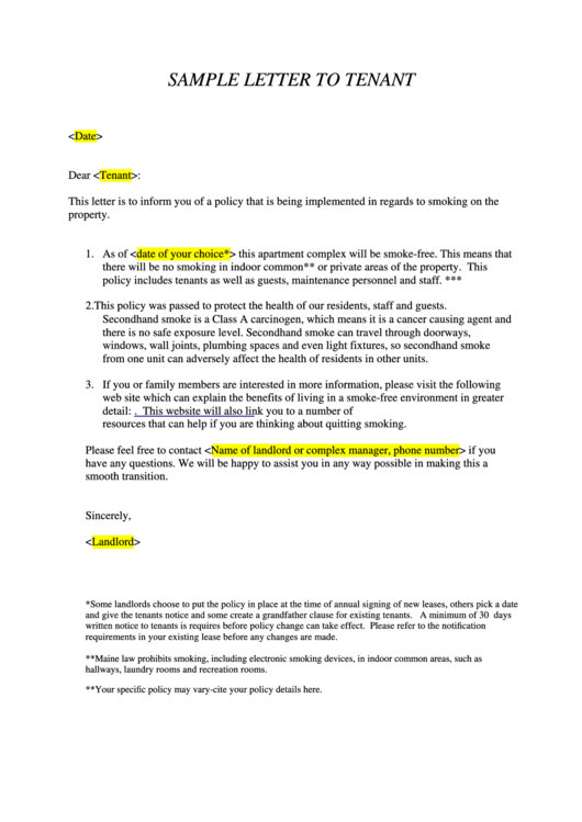 sample letter to tenant