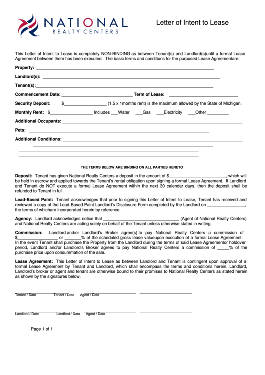 Sample Letter Of Intent To Lease Real Estate