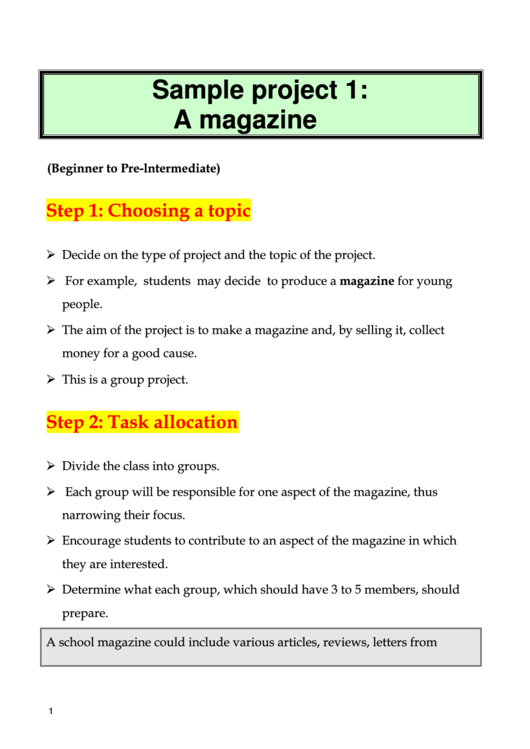 Magazine Project Outline Template
