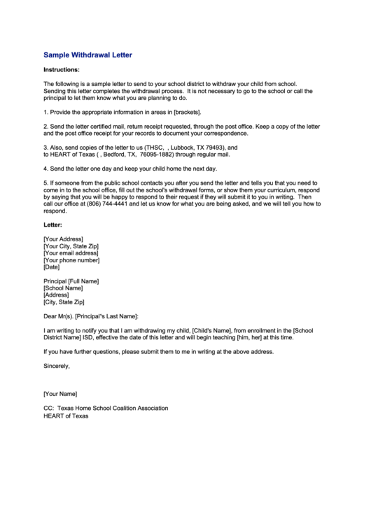 sample school withdrawal letter template