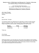 Sample Letter Of Withdrawal And Request For Transfer Of Records (for Families Filing A Private School Affidavit)