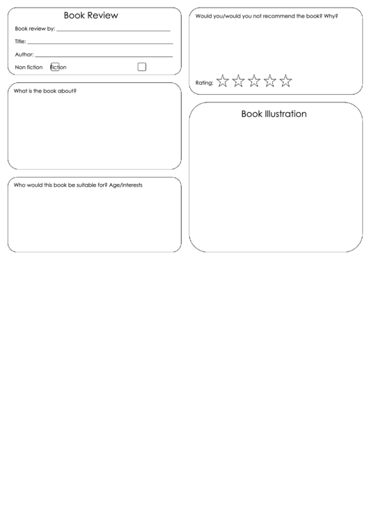 Book Review Template With Illustration Box Printable pdf