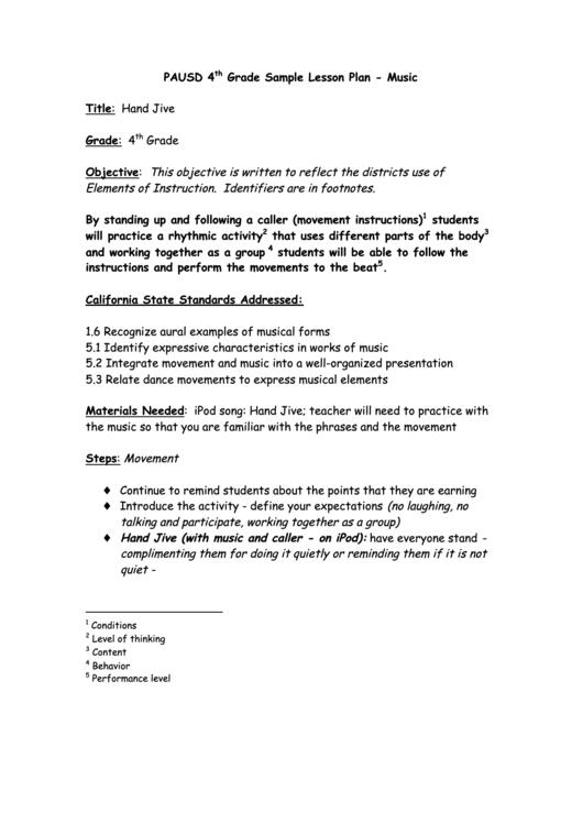 4th Grade Sample Lesson Plan Template - Music printable pdf