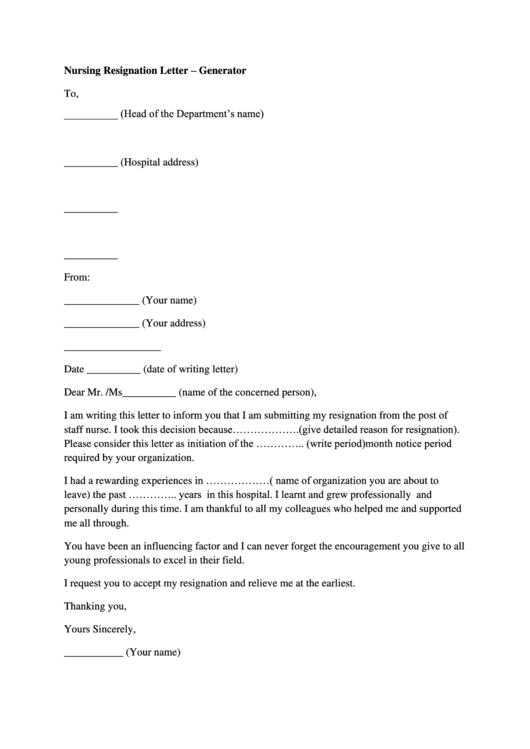 Nursing Resignation Letter Template Printable pdf
