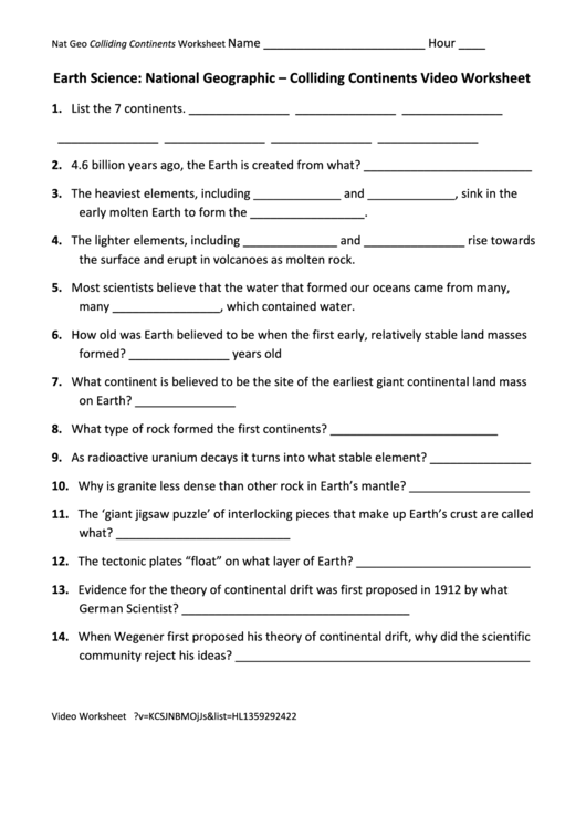 colliding continents video worksheet printable pdf download