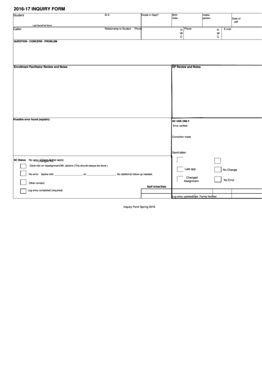 Student Inquiry Sheet Template