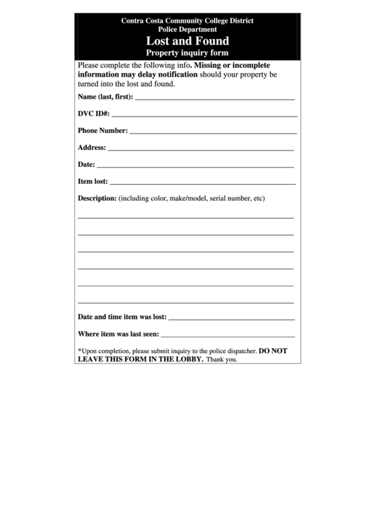 Lost And Found Property Inquiry Form - Contra Costa Community College District Police Department