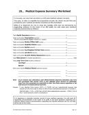 Medical Expense Summary Worksheet