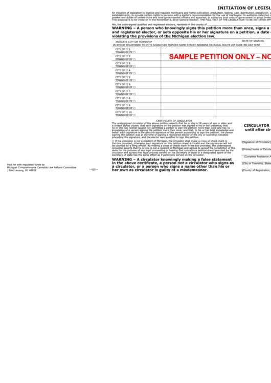 Initiation Of Legislation (sample Petition)