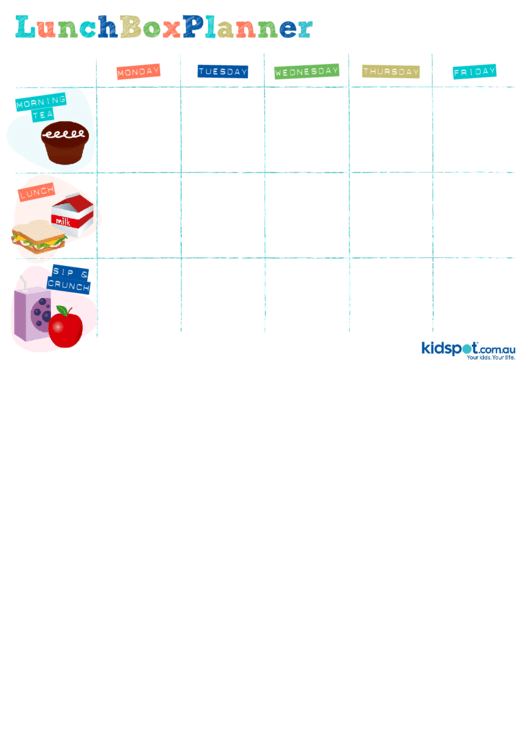 Lunch Box Planner Template