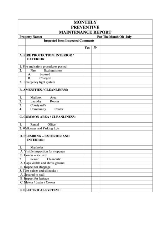 Monthly Preventive Maintenance Report Printable Pdf Download