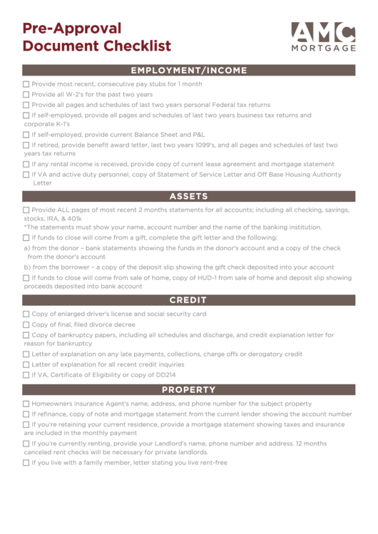 Mortgage Pre-approval Document Checklist Template
