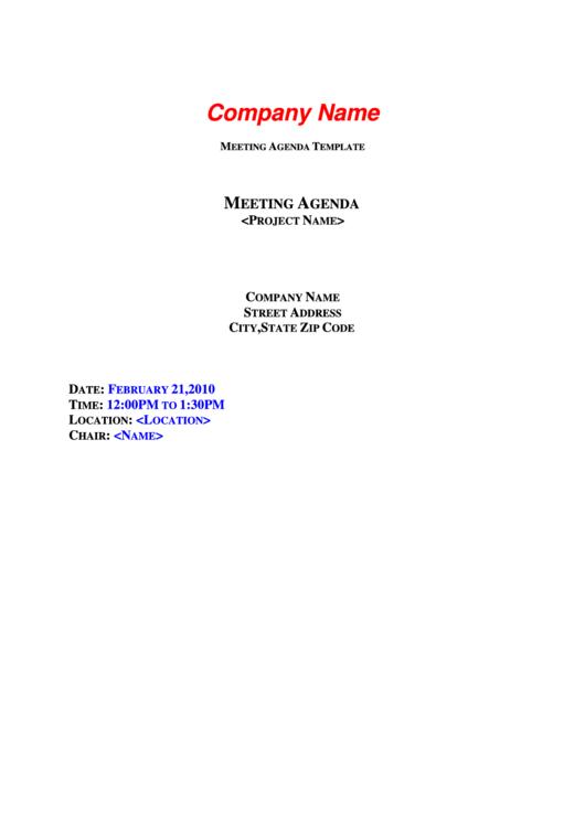 Company Meeting Agenda Template Printable pdf