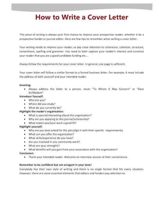 Cover Letter - Sample Printable pdf