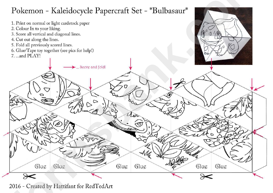 Pokemon kaleidocycle papercraft set printable pdf download for Pokemon templates print