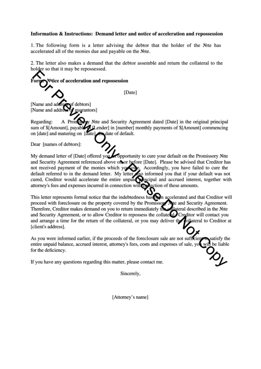 notice of default letter template - sample demand letter and notice of acceleration and