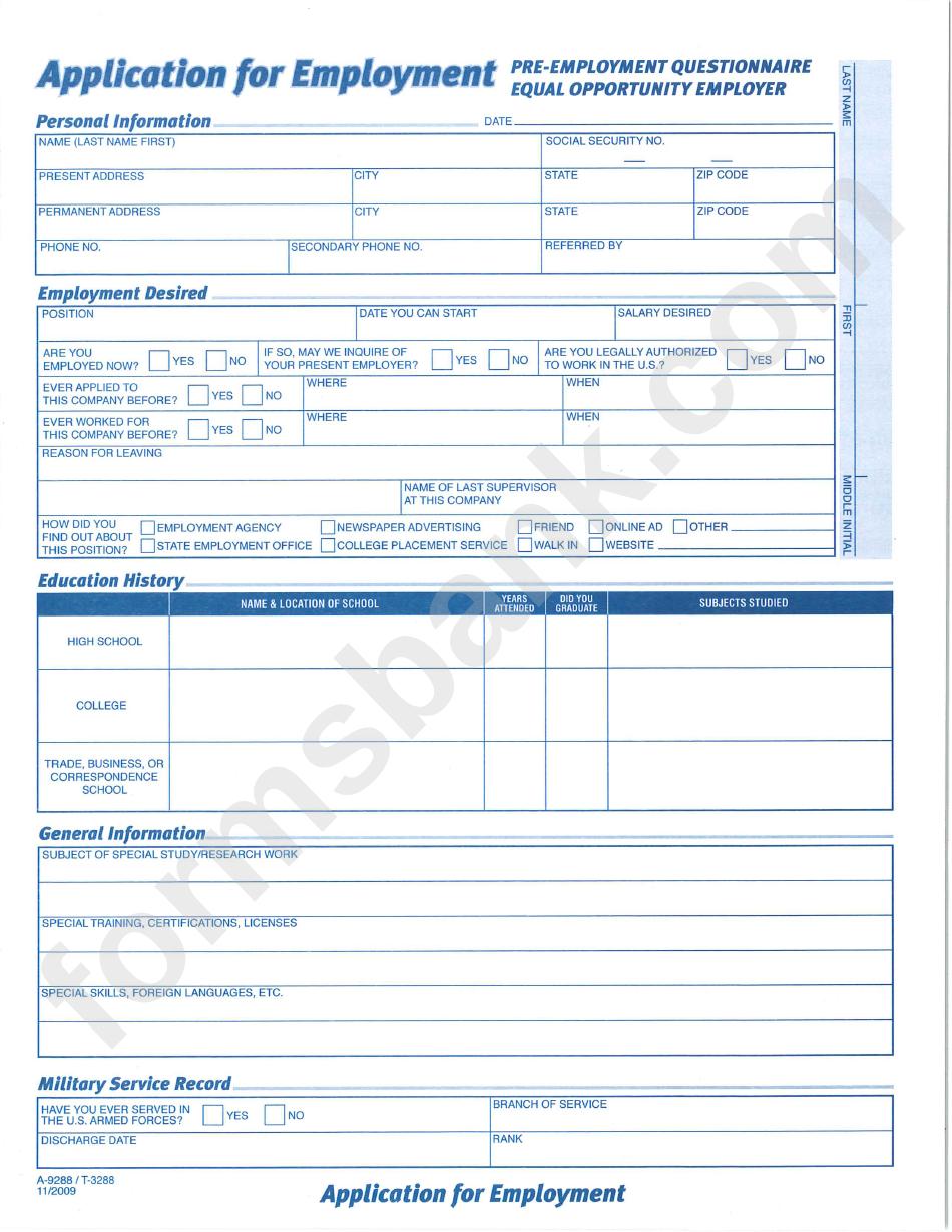 employment questionnaire
