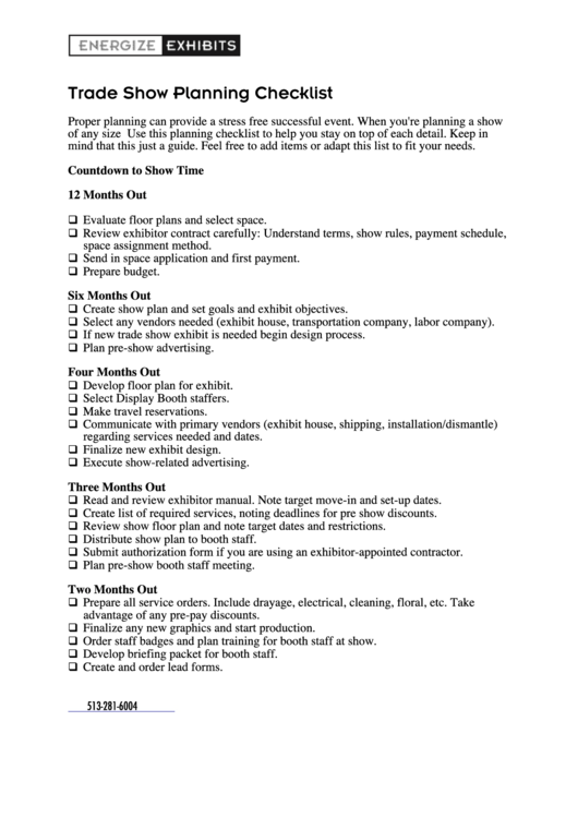 trade show planning checklist template printable pdf download