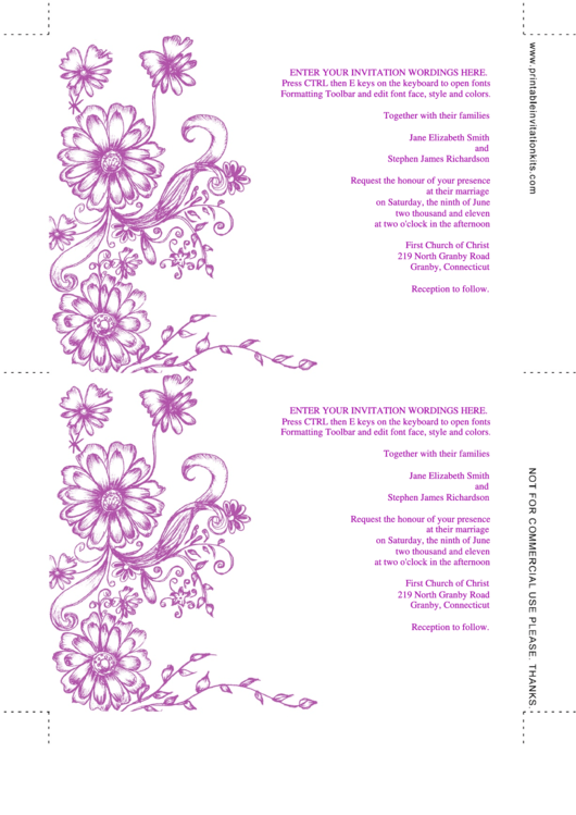 Fillable Floral Garden Wedding Invitation Template (Fillable) Printable pdf