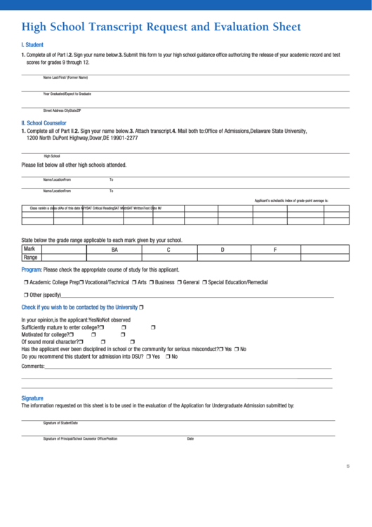 High School Transcript Request And Evaluation Sheet