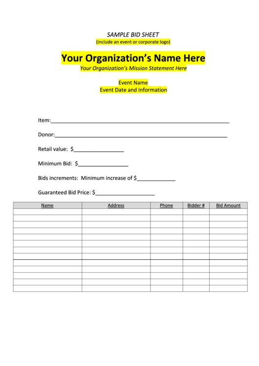 Sample Bid Sheet Template