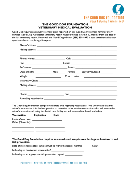 Veterinary Medical Evaluation Form Templates