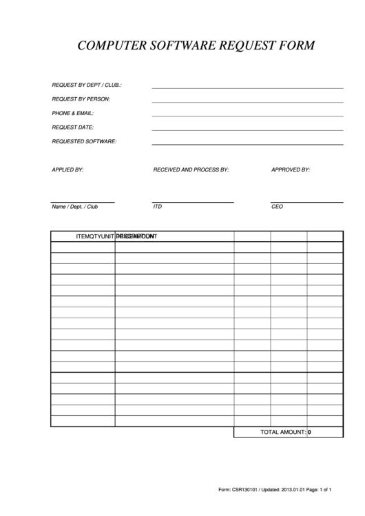Computer Software Request Form