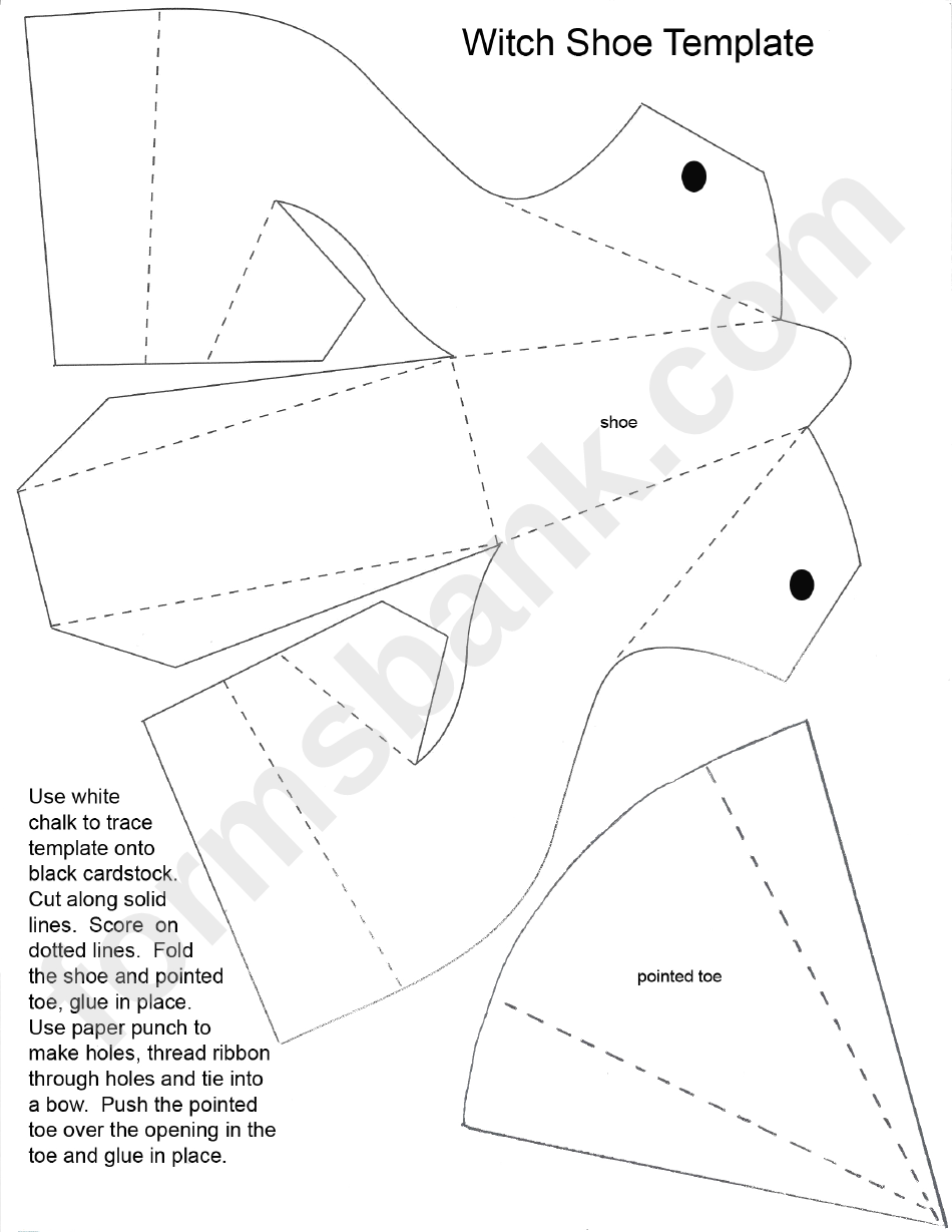 Foldable Witch Shoe Template Printable Pdf Download