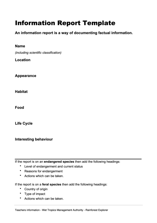 Information Report Templates Free Sample Example Format - Template for information report