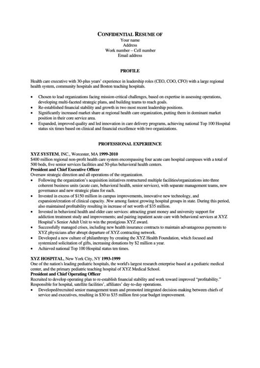 Sample Confidential Resume Printable pdf