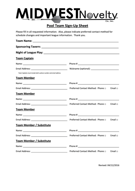 Pool Team Sign-up Sheet
