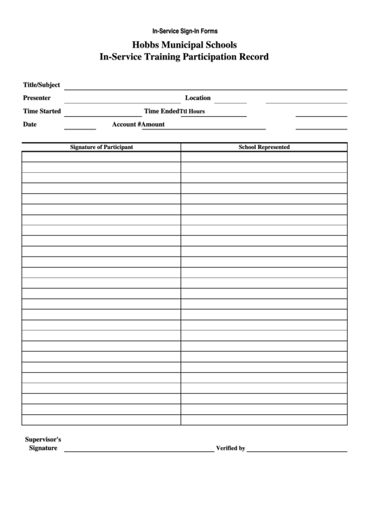 inservice sign in sheet
