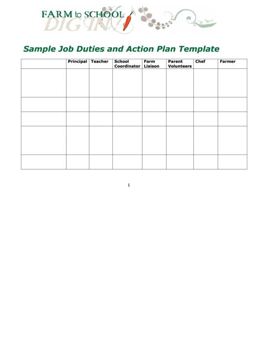 Sample Job Duties And Action Plan Template - Farm To School Printable pdf