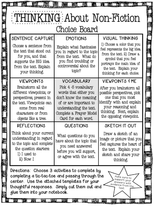 Thinking About Non-fiction - Choice Board