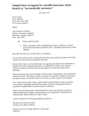 Sample Letter Of Appeal Template For A Denied Health Insurance Claim