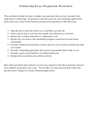 Scholarship Essay Preparation Worksheet