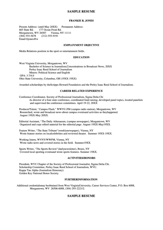 Sample Resume: Media Relations Position In The Sport Or Entertainment Fields Printable pdf