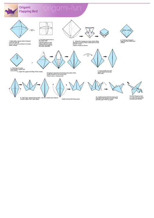 Origami Flapping Bird Instructions Printable Pdf Download