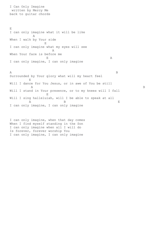 I Can Only Imagine (written By Mercy Me) Guitar Chords printable pdf ...