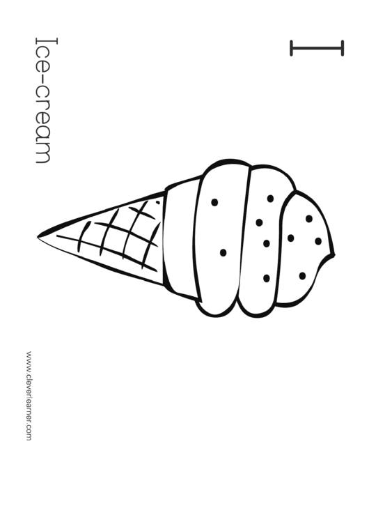 I Is For Ice-cream Coloring Page