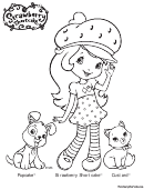 Strawberry Shortcake, Pupcake & Custard Coloring Sheet