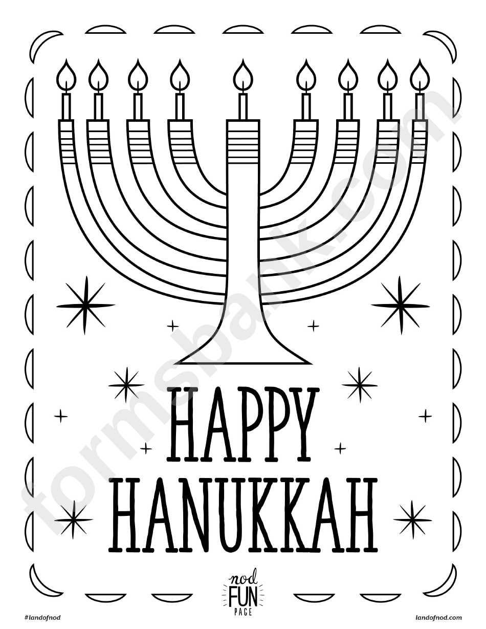 Happy Hanukkah Coloring Sheet