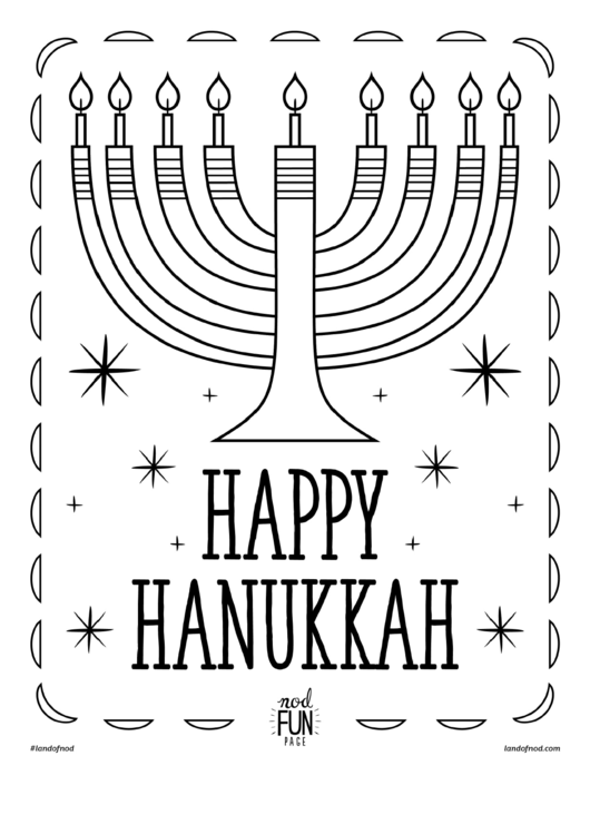 Happy Hanukkah Coloring Sheet Printable pdf