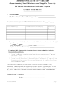 Owner Title Sheet Template - Commonwealth Of Virginia Department Of Small Business And Supplier Diversity