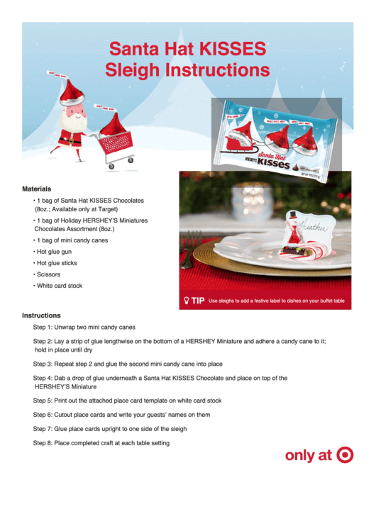 Santa Hat Kisses Place Card Templates And Instructions Printable Pdf